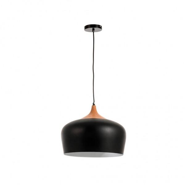Κρεμαστό φωτιστικό  από μαύρο μέταλλο και ξύλο  1XE27 InLlight 4387