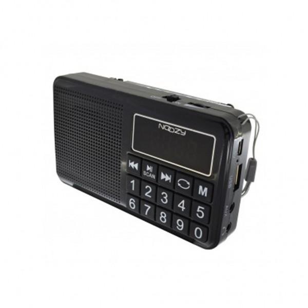Φορητό Ραδιόφωνο Noozy S24 3W Μαύρο με Υποδοχή USB, Κάρτα Μνήμης, Audio-in και Επαναφορτιζόμενη Μπαταρία
