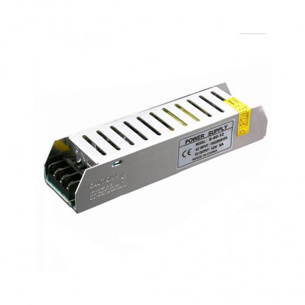Τροφοδοτικό Slim LED 60W 12V 5A Σταθεροποιημένο